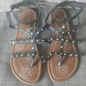 Girls Cherokee s 6y black studies sandals